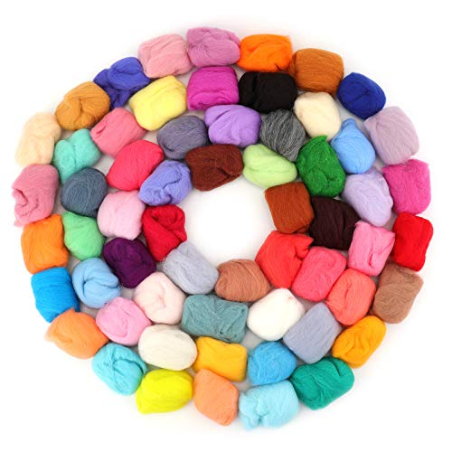 Yarlung 60 Colors Wool Roving Fibre Needle Felting, Wool Yarn Felt Hand Spinning for DIY Craft Animal, Home Decoration, Birthday Gift, Suitable for Beginners
