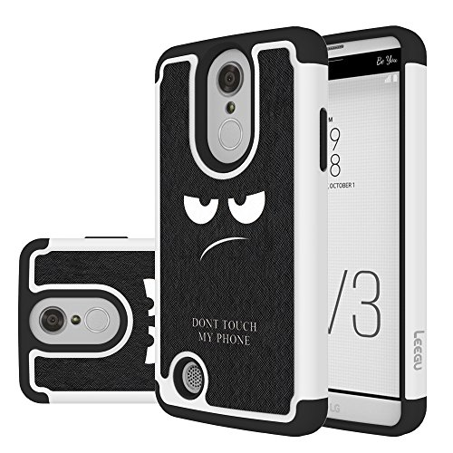 LG Aristo Case,LG K8 2017 Case, LEEGU [Shock Absorption] Dual Layer Heavy Duty Protective Silicone Plastic Cover Case for LG LV3 - Don't Touch My Phone