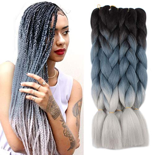 Xtrend 5Pcs Ombre Jumbo Braiding Hair Extension 24 Inch 3 Tone Kanekalon Jumbo Box Braiding Hair Jumbo Braid Synthetic Hair for Braiding 100g/pc (5 Pieces, Black/Dark Blue/Grey#)
