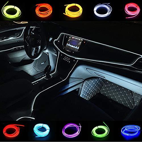 Kmruazre El Wires Car Kit 2M/6FT kalte Innenausstattung helles Auto dekorative Atmosphäre Neonlicht Röhre Kreis bis zu 360 Grad mit Zigarette (Weiß)
