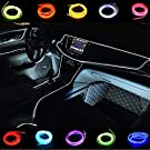 Car Light Strips 2m/6ft Cold Interior Trim Bright Car Decorative Atmosphere Electroluminescent Wire Tube Circle Up to 360 Degrees with Cigarette(White)