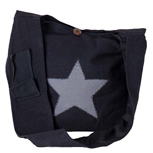 Vishes - Yogi Beuteltasche aus Baumwolle mit aufgenähtem Stern schwarz-grau