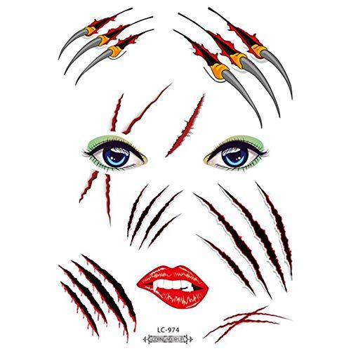 Wasserdichter Tattoo Aufkleber Halloween Gesicht Tattoo Aufkleber Atmosphäre Lustiger Makel Maskerade Tattoo Gesicht Make-up Aufkleber, LC-974, Spanien