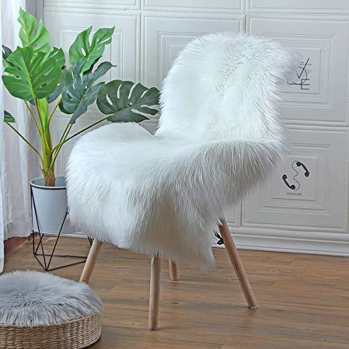 ZPXTI kunstfell Teppich Faux Lammfell Teppich Kunstpelz Teppich Schaffell Teppiche Fell für stühle Schla fzimmer Wohnzimmer (Weiß, 60x90cm)
