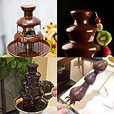 DIOE DIY Hauptschokoladenfondue, Minischokoladenbrunnen, dreischichtige Edelstahlschokoladen-Wasserfall-Maschine, Höhe 23.5CM, Schwarz - 2