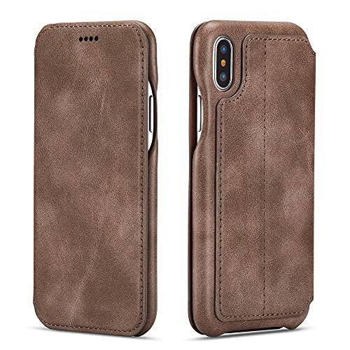 Custodia a portafoglio Premium per iPhone SE2 Xr X Xs Porta carte Flip Cover in pelle per IPhone 11 12 Pro Max 7 8 6S 6 Plus 12 Mini, caffè, per iPhone XS MAX