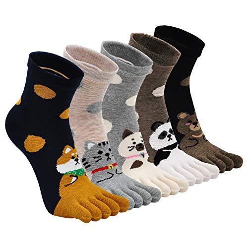 ZFSOCK Zehensocken Damen Baumwolle Five Finger Running Sport Socken Bunt Lustig Punkte Socken Zehen Einzeln Laufen Arbeit Socken 36-41, 5 Paare(4/7 Jahre)