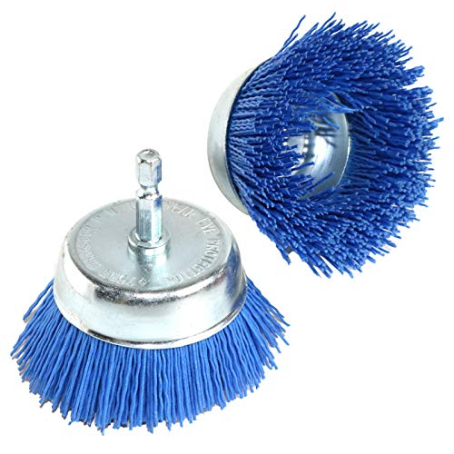 2Pcs 3 Inch Abrasive Wire Nylon Cup Brush for Drill,Grit 320 with 1/4' Shank (Blue)