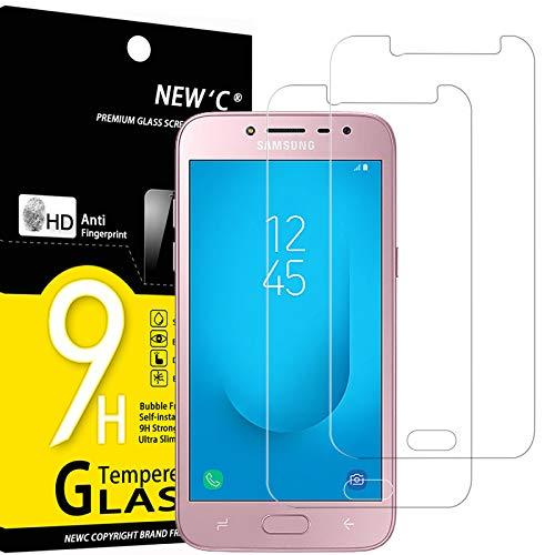 NEW'C Lot de 2, Verre Trempé Compatible avec Samsung Galaxy J2 2018, Film Protection écran sans Bulles d'air Ultra Résistant (0,33mm HD Ultra Transparent) Dureté 9H Glass