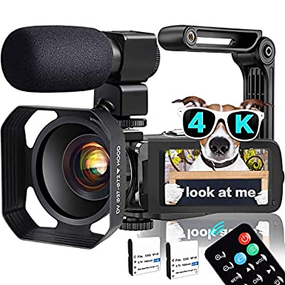 Video Camera, TLPUHU 4K Camcorder WiFi Ultra HD 48MP YouTube Camera for Vlogging, 3.1'' IPS Screen 18X Digital Zoom Video Camera with Microphone, 2 Batteries, Handheld Stabilizer from TLPUHU