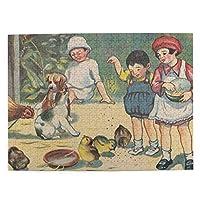500ピース ジグソーパズル 中西義男 「エサ ヲ アゲルヨ」 パズル 木製パズル 動物 風景 絵 ピクチュアパズル Puzzle 52.2x38.5cm