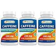 3 Pack Best Naturals Caffeine Pills 200mg Tablets - Non Habit - Proven No Crash or Jitters - Total 360 Tablets
