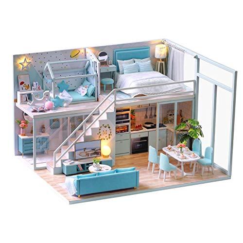 Cryfokt Kit de casa de muñecas DIY, casa de muñecas de Madera con Luces LED, Muebles, casa de muñecas, artesanía Hecha a Mano, apartamento Tipo Loft, habitación Creativa en Miniatura(#1)