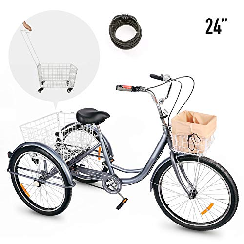 Viribus Adult Tricycle Three Wheel Trike Bike Single Speed Hybrid Cargo Cruiser with Removable Wheeled Basket for Shopping or Dogs Waterproof Bag Exercise Bike for Men Women Bicycle Bell (Gray1, 24')