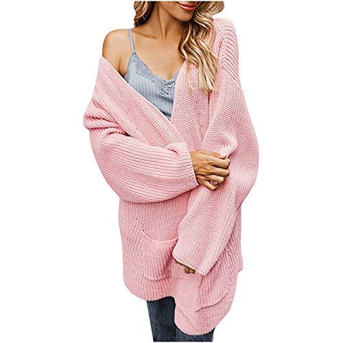 Suéter Tipo cárdigan de Punto Suave Ligero Informal con Parte Delantera Abierta y Manga Larga para Mujer con...