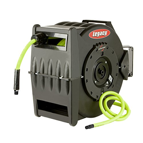 Flexzilla Levelwind Retractable Air Hose Reel, 1/2 in. x 50 ft, Heavy Duty, Lightweight, Hybrid, ZillaGreen - L8335FZ