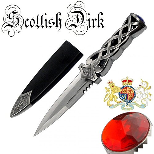MysticalBlades 9' Thor's Hammer Twisted Steel Celtic Sgian Dubh Scottish Dirk Wedding Athame Dagger with Red Ruby