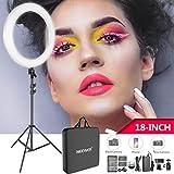 Neewer スタジオ撮影用ライトセット 18インチLEDリングライト、ライトスタンド、スマホホルダー、USB充電器、電源アダプター、バッテリー、ケース 肖像画、メイク、自撮り撮影に対応「黒」