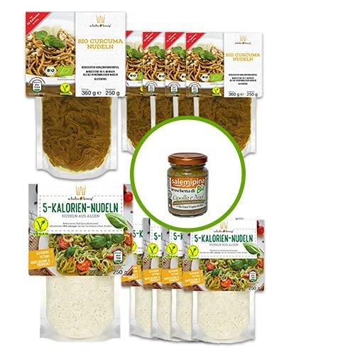 5x 5 Kalorien Nudeln 250g, 5x Bio Curcuma Nudeln 250g, 1x Bruschetta mit Zwiebeln & Walnüsse 90g