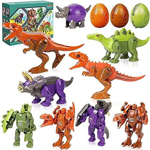 Dinosaurus Robot Transformator Speelgoed, Transformeren Dinosaurus Speelgoed Voor Kinderen Tyrannosaurus Triceratops Stegosaurus Actiefiguren Dinosaurus Ei Speelgoed Dinosaurus Gift Voor Jongens Meisjes (4 Dinosaurus+4 Dinosaurus)