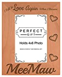 ThisWear Grandma Gift Fell in Love When Became Meemaw Natural Wood Engraved 4x6 Portrait Picture Frame Wood