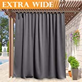 RYB HOME Outdoor Curtains for Patio - Thermal Insulated Drape for Screen Porch, Waterproof Stain & UV Repellent Exterior Lanai/Outside Dining Area, 100 Wide x 95 Long, Grey