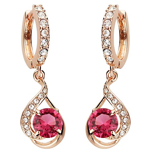 MYA art Damen Goldene Creolen Ohrringe Hängend Ohrhänger mit Zirkonia Stein Tropfen-Anhänger Rose Gold Vergoldet Rosegold Rot MYARGOHR-67