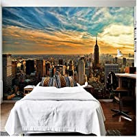 Xbwy 壁の装飾壁画カスタム3D壁壁画現代ニューヨーク市ビュー日没写真壁紙リビングルーム-120X100Cm
