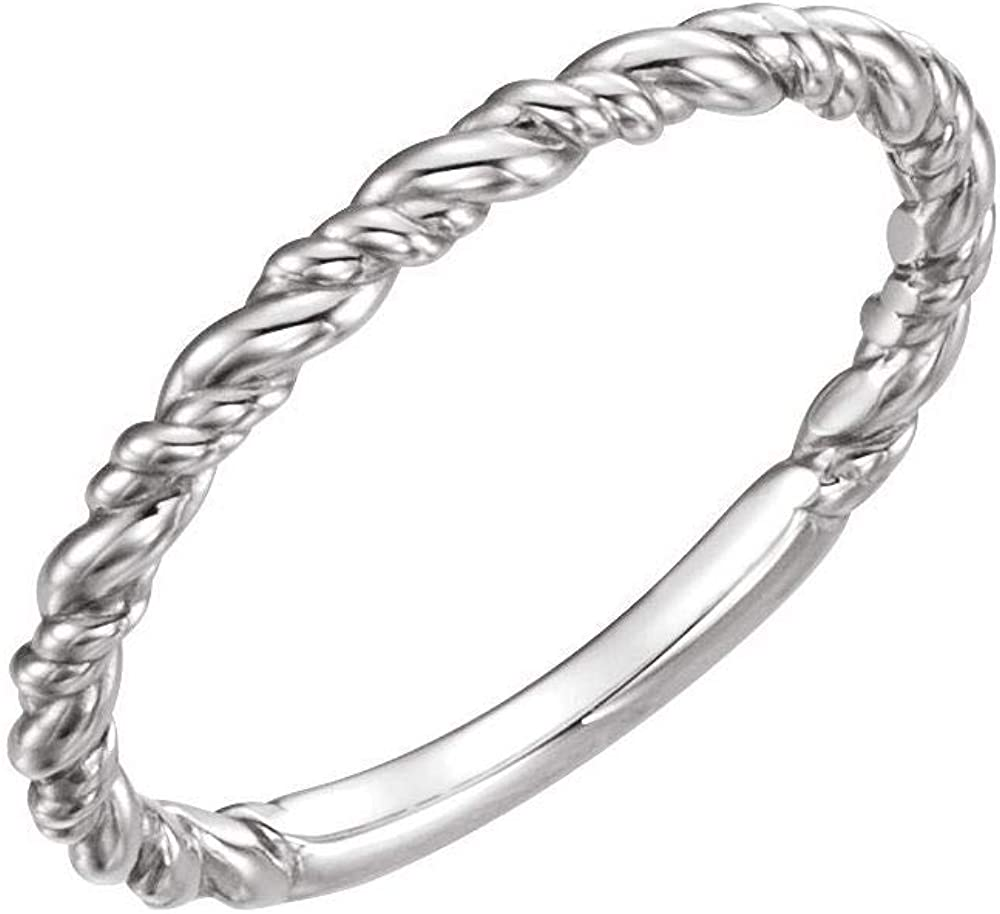 Solid Platinum Stackable Wedding Anniversary Rope Ring Band (Width = 1.7mm)