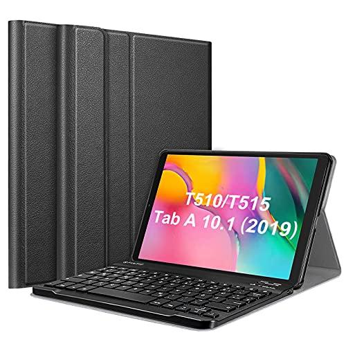 Fintie Tastatur Hülle für Samsung Galaxy Tab A 10.1 Zoll 2019 SM-T510/T515 Tablet-PC - Superdünn leicht Schutzhülle mit magnetisch Abnehmbarer drahtloser Deutscher Bluetooth Tastatur, Schwarz