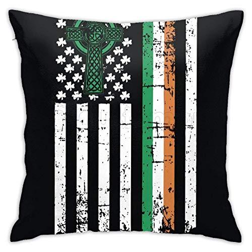 WH-CLA Cushion Cover Bandera Americana Irlandesa Fundas De Almohada Blandas Sofá De Coche con Cremallera Sofá Fundas De Almohada Funda De Cojín De Cama Fundas Duraderas Apartamento Sofá