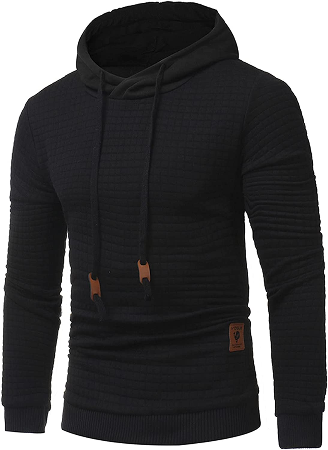 XXBR Hoodies for Mens, Fall Men's Casual Long Sleeve Pullover Hipster Drawstring Plaid Jacquard Hooded Sweatshirts