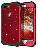 Casetego Compatible with iPhone 8 Plus Case,iPhone 7 Plus Case,Glitter Sparkle Bling Three Layer Heavy Duty Hybrid Sturdy Shockproof Protective Cover Case for Apple iPhone 8 Plus/7 Plus,ShinyRed
