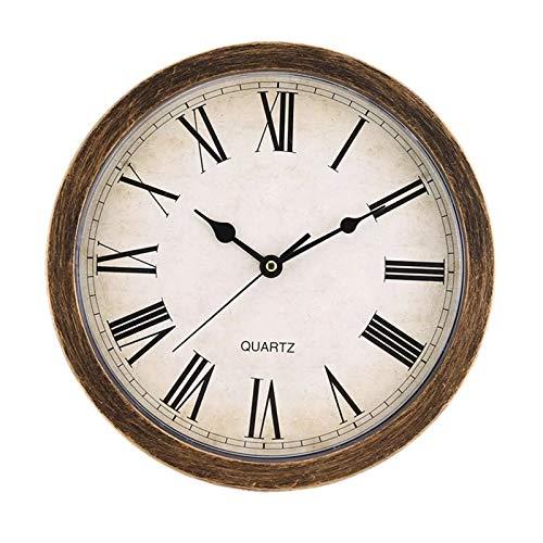 hufeng Reloj de pared estilo nórdico vintage redondo con forma única europea silenciada reloj de pared caja de almacenamiento para decoración del hogar sala de estar