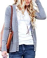 NENONA Women's V-Neck Button Down Knitwear Long Sleeve Soft Basic Knit Cardigan Sweater(Grey-XL)