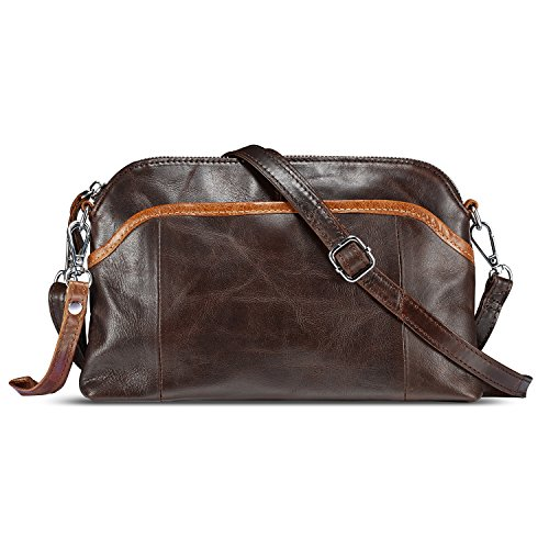 Lecxci Small Women's Soft Vintage Leather Crossbody Travel Smartphone Bag Wristlets Clutch Wallet Purse (Coffee)