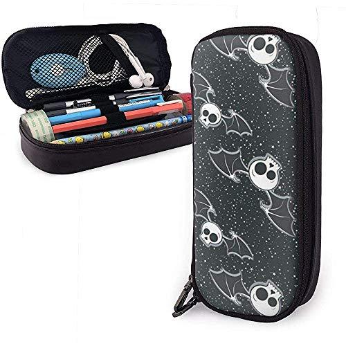 Estuche de lápices de calavera de murciélagos de Halloween, bolsa de maquillaje de bolsa de lápices de gran capacidad