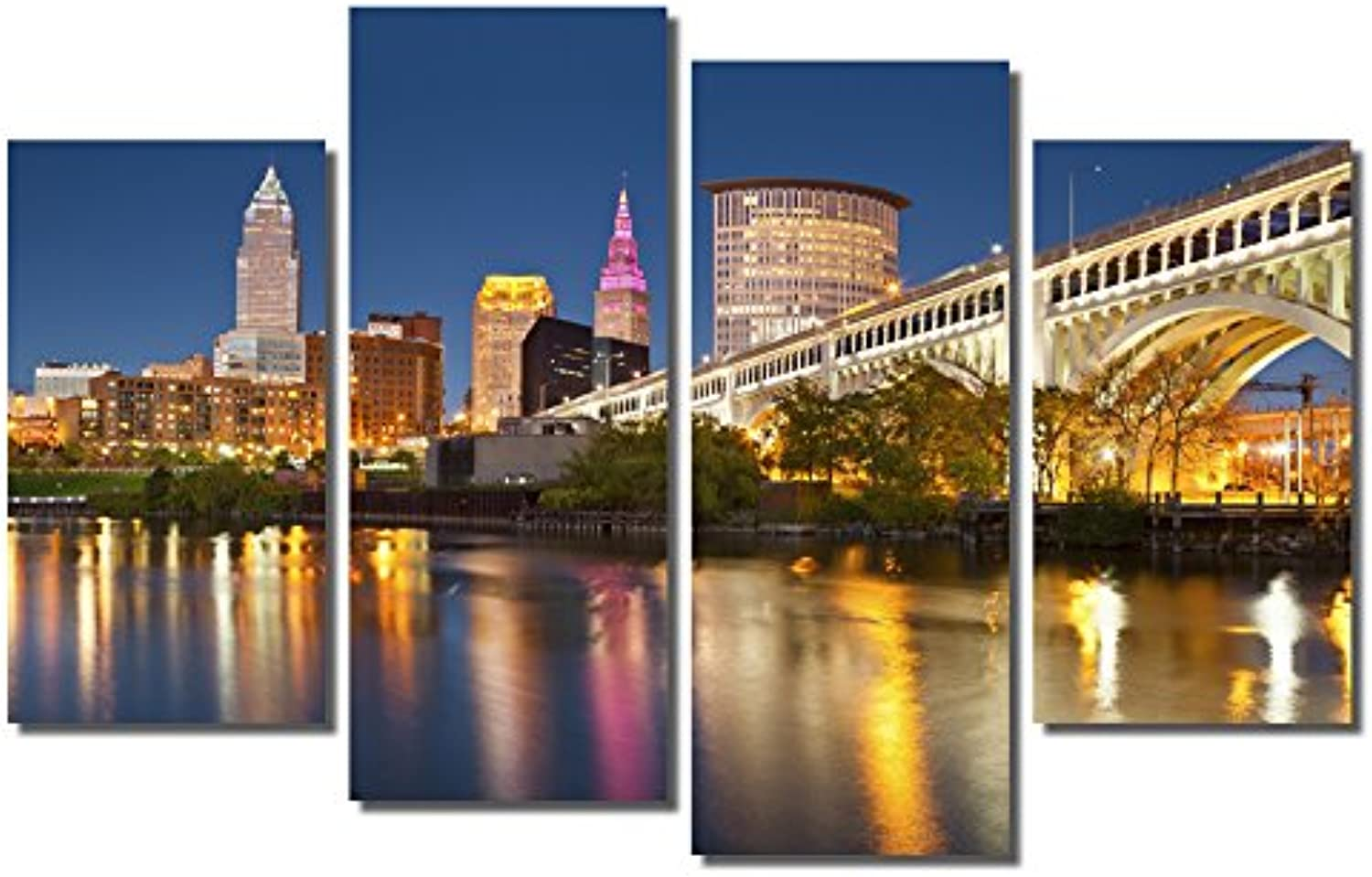 Picture Sensations Framed 4-Panel Canvas Art Print, Cleveland City Skyline-48, 4 Panel-48 X32