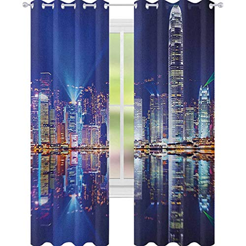 "YUAZHOQI City Blackout Cortinas Hong Kong Island de Kowloon Vibrante View Water Reflection Modern China para Niños Decoración Personalizada Cortinas 52"" x 274.32"" Royal Blue Orange White"