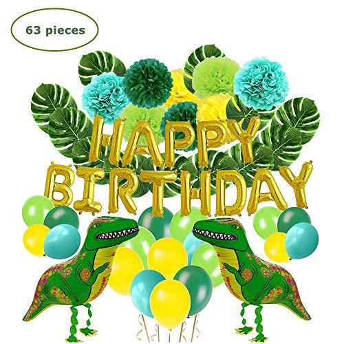 Lehoo Castle Decoración de fiesta de dinosaurio, juego de artículos de fiesta de 63 piezas para niños, decoraciones de cumpleaños para niños, globos de feliz cumpleaños, flores de pompones