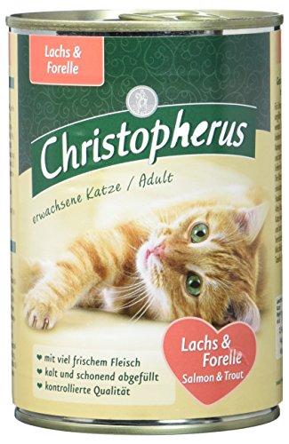 Christopherus Alleinfutter für Katzen, Nassfutter, Erwachsene Katze, Lachs und Forelle, 6 x 400 g Dose