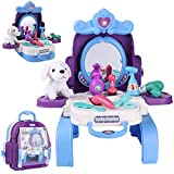 Kids Beauty Hair Salon Toy Pretend Play Hair Styling Set Simulation Hairdressing Kit with 3-in-1 Carrier Backpack, 16Pcs Role Play Educational Toy Pretend Game Gifts for Kids Girls Birthday Christmas