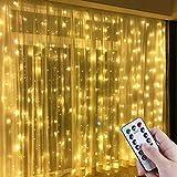 Anpro Catena Luminosa Stringa Luci - 3x3m USB Tenda Luminosa Natale con 300 Bombillas Strisce LED Luci da giardino da esterno, 8 Modos, Bianco caldo, classe di efficienza energetica