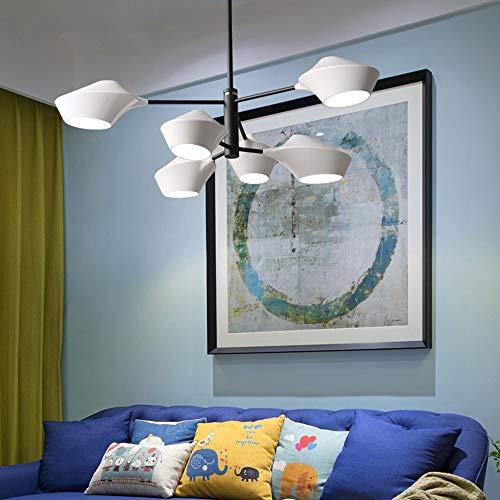 SWNN lámparas de araña Lámpara Moderna LED Lámpara De Dormitorio Atmosférica De Diseño Simple con Luces Minimalistas De Sala De Estar De Restaurante (Color : White, Size : 8 Heads)