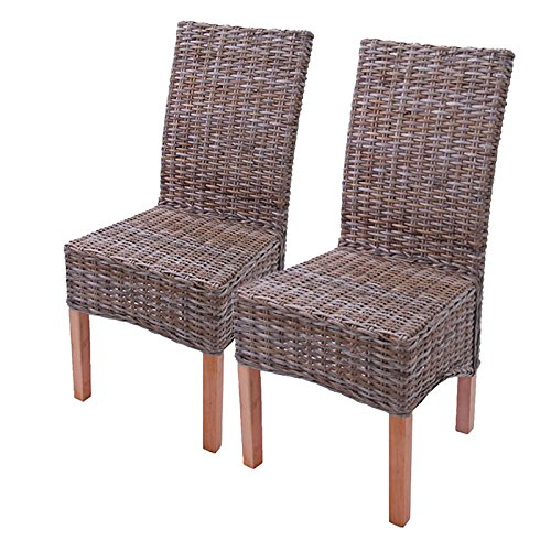 Mendler 2 x Dining Chairs, Wicker Chair, Chair M44, Kubu-Rattan without cushion