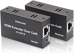 196ft HDMI Extender HDMI Over Single CAT5E CAT6 CAT7 Cable Balun Sender Receiver Repeater Supports 1080p 3D HDCP EDID for PC, DVD, PS3, PS4, Xbox 360,Roku, HD camera
