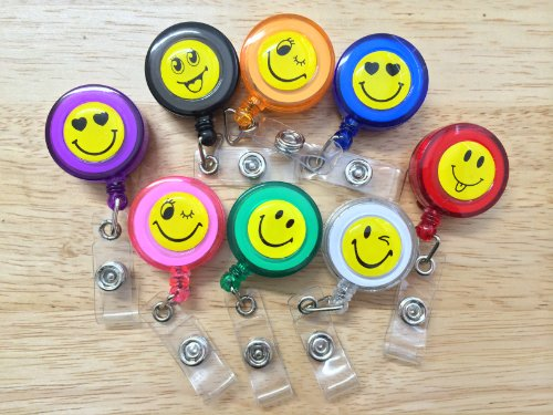 Smiley Faces Lot 50PC Id Badges Card Holder Office Retractable Reel Key Clip Holders
