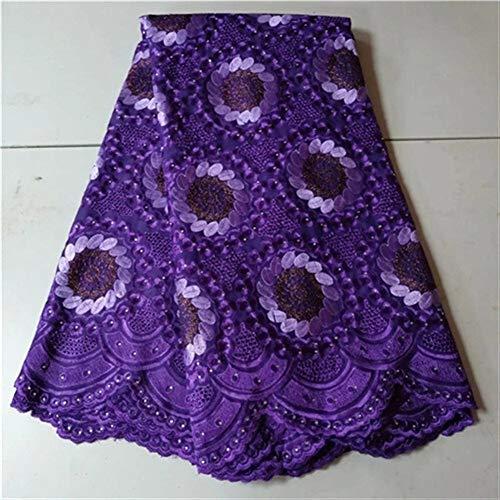 Cjcaijun 5yards cordón de la tela de la tela neta del bordado de encaje de tela PrintingNigeria últimas piedras de malla tejida africana cordón suizo del algodón (Color : Same as picture4)