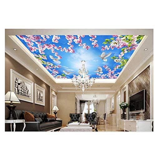 Mrlwy Fototapete nach Maß Hauptdekoration Pfirsichblüte Pigeon Sky Ceiling Fresco decke wallpaper-280X200CM