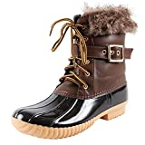 Nature Breeze Duck-01 Women's Chic Lace Up Buckled Duck Waterproof Snow Boots,Brown,5.5